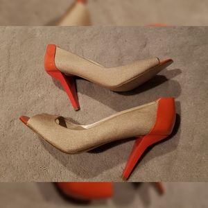 Nine West Gold And Orange Heels size 9.